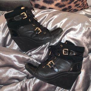 Gorgeous Michael Kors Black/Gold Sneaker Wedges